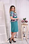 Женское платье с баской цвет бирюза 0575 размер 42-74 / больших размеров , фото 2