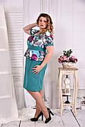 Женское платье с баской цвет бирюза 0575 размер 42-74 / больших размеров , фото 3
