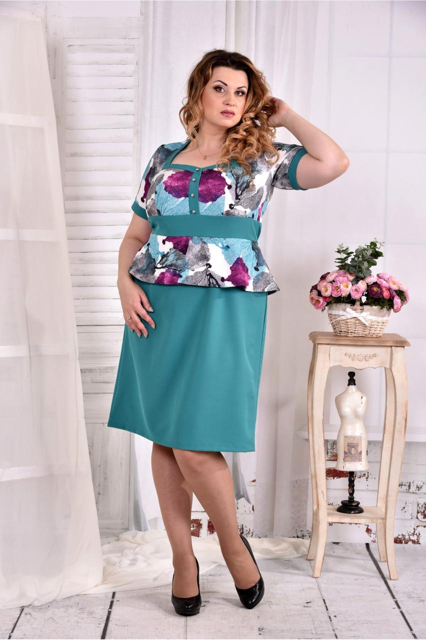 Женское платье с баской цвет бирюза 0575 размер 42-74 / больших размеров