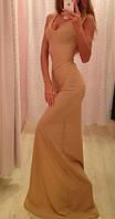 Платье длинное телесного цвета с разрезом на ноге, глубокое декольте, широкие лямки
