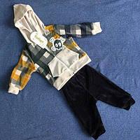 Велюровый детский костюм для мальчика с черепом и капюшоном оптом цвета в ассортименте
