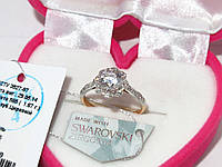 Золотое кольцо с камнями Сваровски 80500-СВ