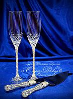 Набор свадебных аксессуаров в стразах (бокалы, приборы для торта)  , фото 1