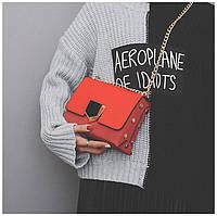 Стильная женская маленькая сумка Jimmy Choo Lockett Petite с цепочкой на плечо красного цвета