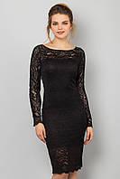 Черное гипюровое платье с длинным рукавом