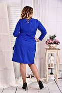 Женское однотонное платье цвет электрик 0573 размер 42-74 / больших размеров , фото 4
