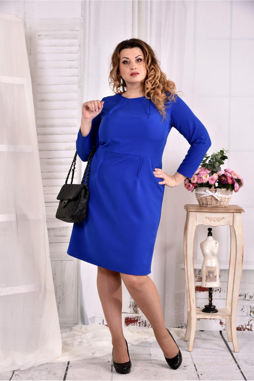 Женское однотонное платье цвет электрик 0573 размер 42-74 / больших размеров