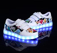 Модні кросівки з підсвіткою на USB для дівчаток та хлопчиків