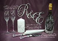 Набор свадебных аксессуаров в стразах (бокалы 26,3с, шампанское, свечи, топпер, приборы для торта)