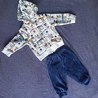 Велюровый детский костюм для мальчика с рисунком фотоаппарат на кофте оптом цвета в ассортименте