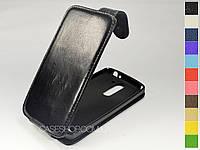 Откидной чехол из натуральной кожи для LG D337 L Prime