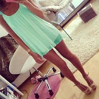 Платье мятное из шифона на лямках, короткое, все размеры 46 Голубой