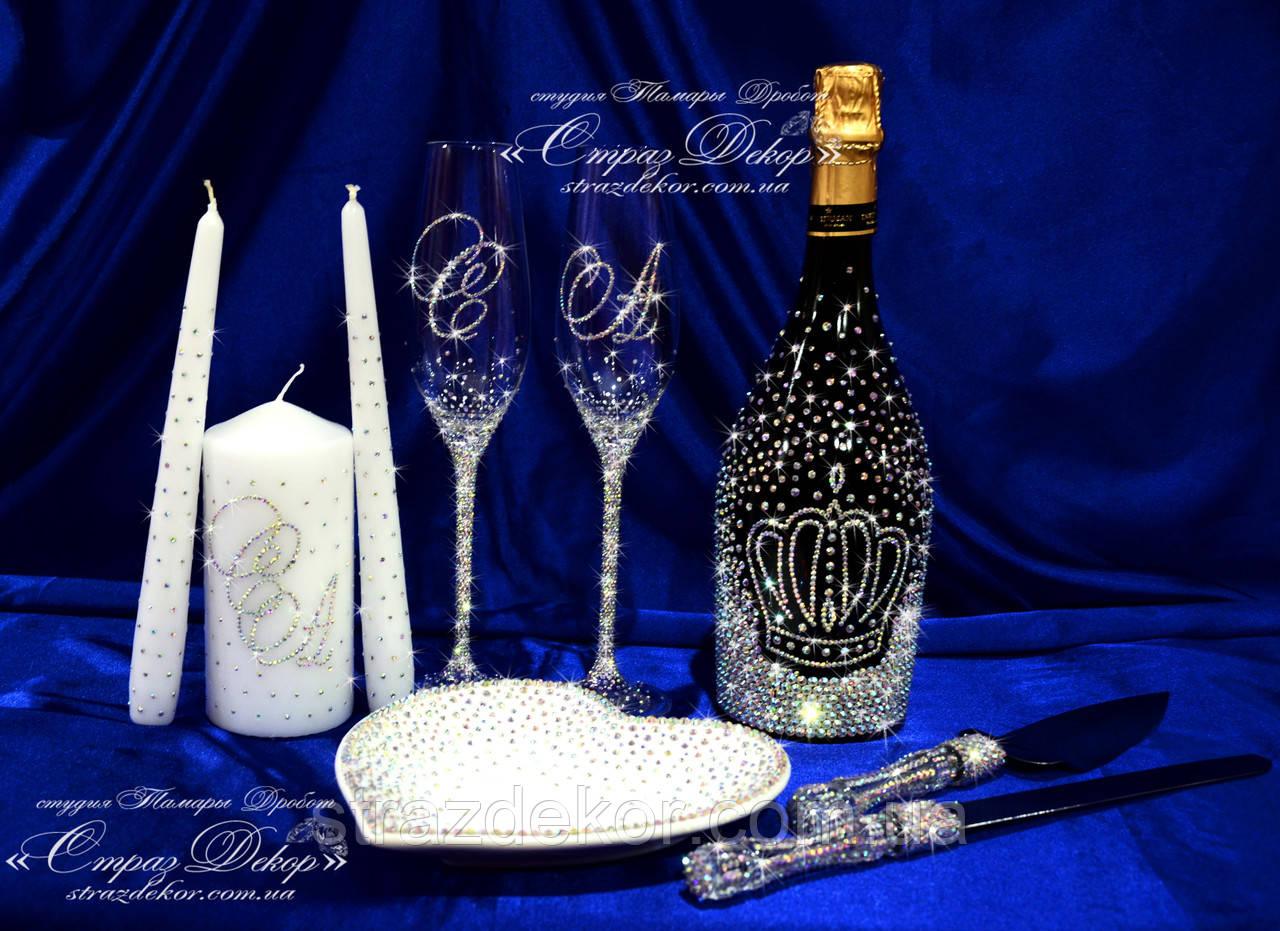 Набор свадебных аксессуаров в стразах (бокалы, шампанское, свечи, тарелочка, нож и лопатка), фото 1