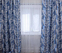Готовые шторы с ткани блэкаут голубой