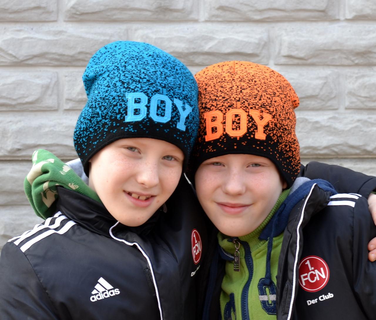 №114 Детская шапка BOY. 1,5 слоя. Мальчик/девочка 3-7 лет р.50-54.  бирюза,  оранж, малина