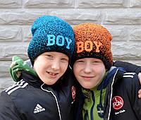 №114 Детская шапка BOY. 1,5 слоя. Мальчик/девочка 3-7 лет р.50-54.  бирюза,  оранж, малина, фото 1