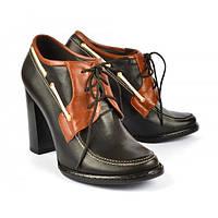 Ботинки женские на устойчивом каблуке, черные с коричневыми вставками «Broadway», Черный, 39
