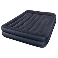 Надувная флокированная кровать двухспальная Intex 66720, черная Ліжко 203х152х42 ми