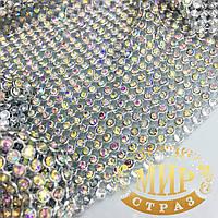Стразовая Кольчуга (не термо!)  Металл-серебро Стразы Crystal АВ (хамелеоны),отрезок 1*50см