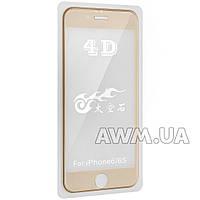 """Защитное стекло iPhone 6 4D (золото) """"без комплекта"""""""