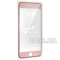 Защитное стекло iPhone 6+ 4D (розовый) без салфеток