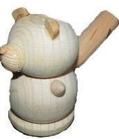 Свистулька деревянная Мишка без лакированного  покрытия 171903