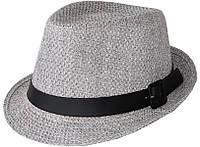 Шляпа челентанка хлястик рогожка серая