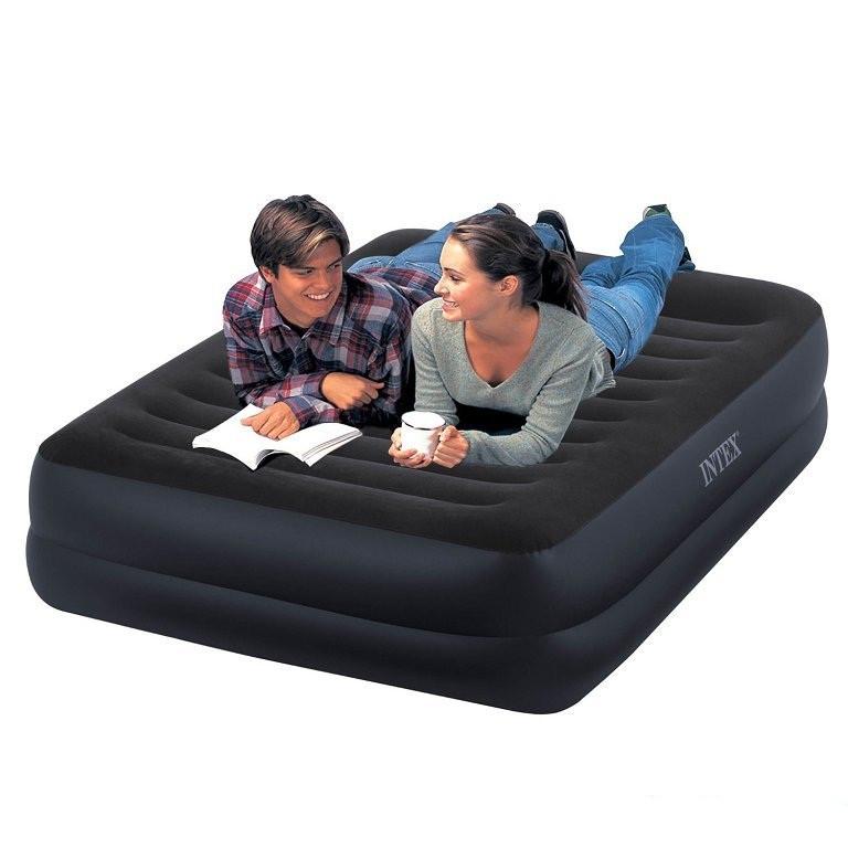 Велюровая надувная двухместная кровать Intex Ліжко 203х152х42 см
