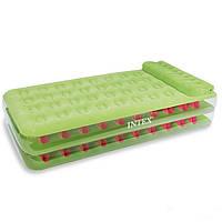 Велюровая надувная кровать Intex 67715, салатовая, 191 х 99 х 38 см
