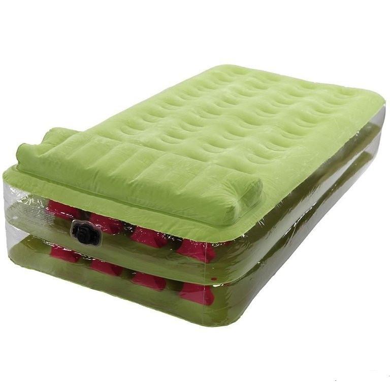 Велюровая надувная кровать одноместная  Intex, салатовая, 191 х 99 х 38 см Ліжко