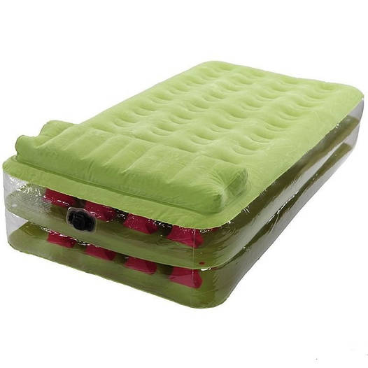 Велюровая надувная кровать Intex, салатовая, 191 х 99 х 38 см Ліжко