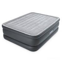 Двухспальная надувная флокированная кровать Intex 64140, серая, со встроенным насосом Ліжко 203 х 152 х 51 см