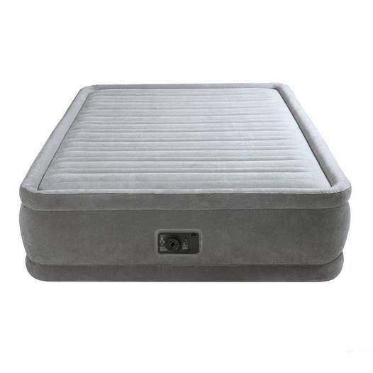 Двухспальная надувная флокированная кровать Intex, серая, со встроенным насосом