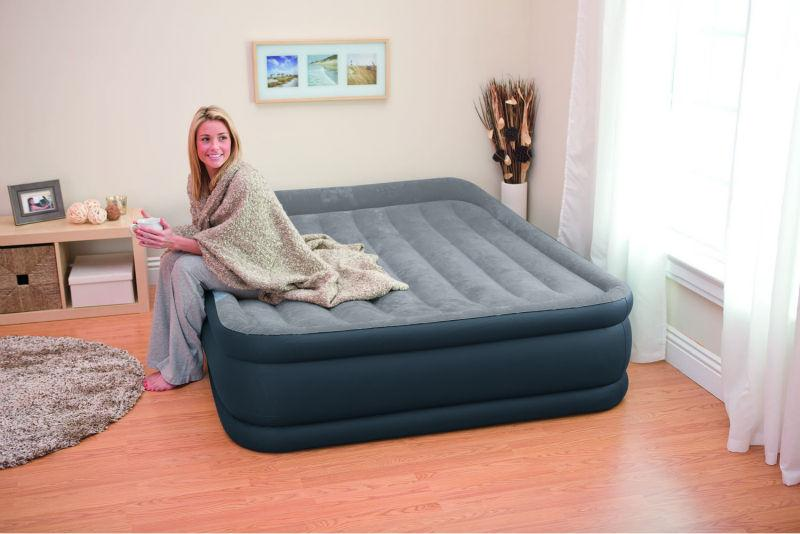 Двухспальная надувная флокированная кровать Intex 67738 Ліжко