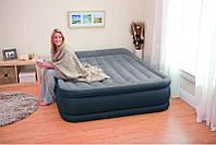 Двухспальная надувная флокированная кровать Intex 67738 Ліжко 203 х 152 х 43 см