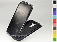 Откидной чехол из натуральной кожи для LG Stylus 2 Plus