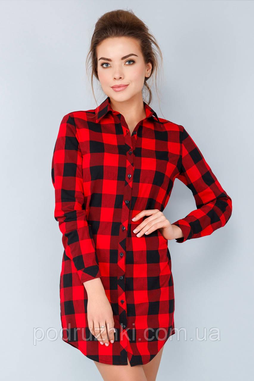 16767b0177d Удлиненная рубашка в красно-черную клетку  продажа