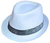 Шляпа челентанка белый лен + украшение