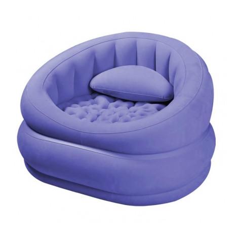 Надувное велюровое кресло крісло Intex 68563, фиолетовое 91х105х65 см