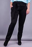 Джерси. Стильные женские брюки супер батал. Черный. 58