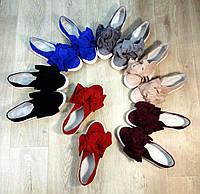 Модные слипоны женские мокасины банты натуральные дорогие качественные распродажа