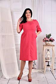 Женское платье на каждый день 0569 цвет малина размер 42-74 / больших размеров