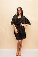 Женский шёлковый халат чёрного цвета