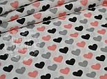 Лоскут ткани №780а с сердечками: серыми, чёрными, розово-пудровыми, размер 19*110 см, фото 2