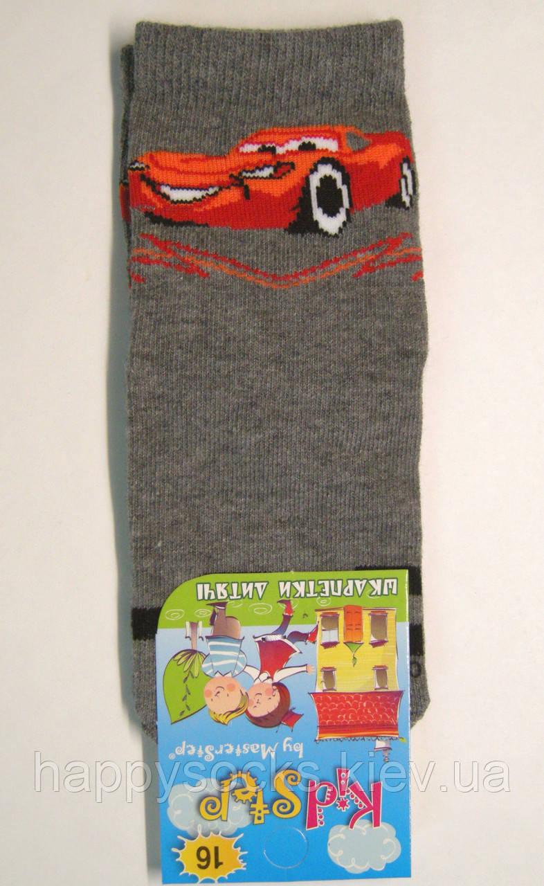 """Мальчиковые носки с машинкой """"Маквин"""" темно-серого цвета"""