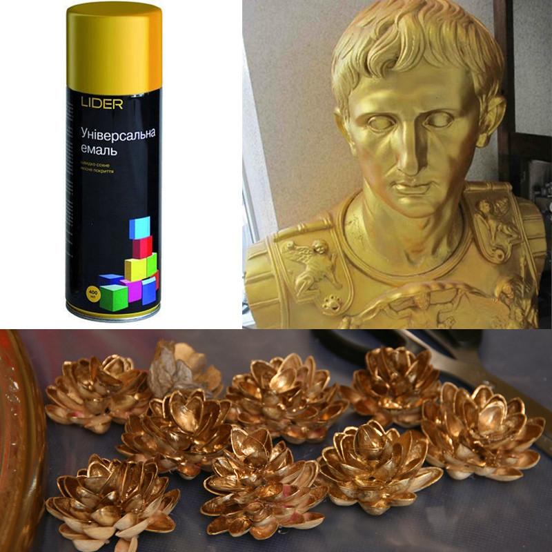Краска аэрозоль золото темное универсальная эмаль Lider Лидер, 400 мл