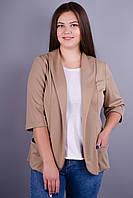 Лиза. Модный пиджак больших размеров. Бежевый.