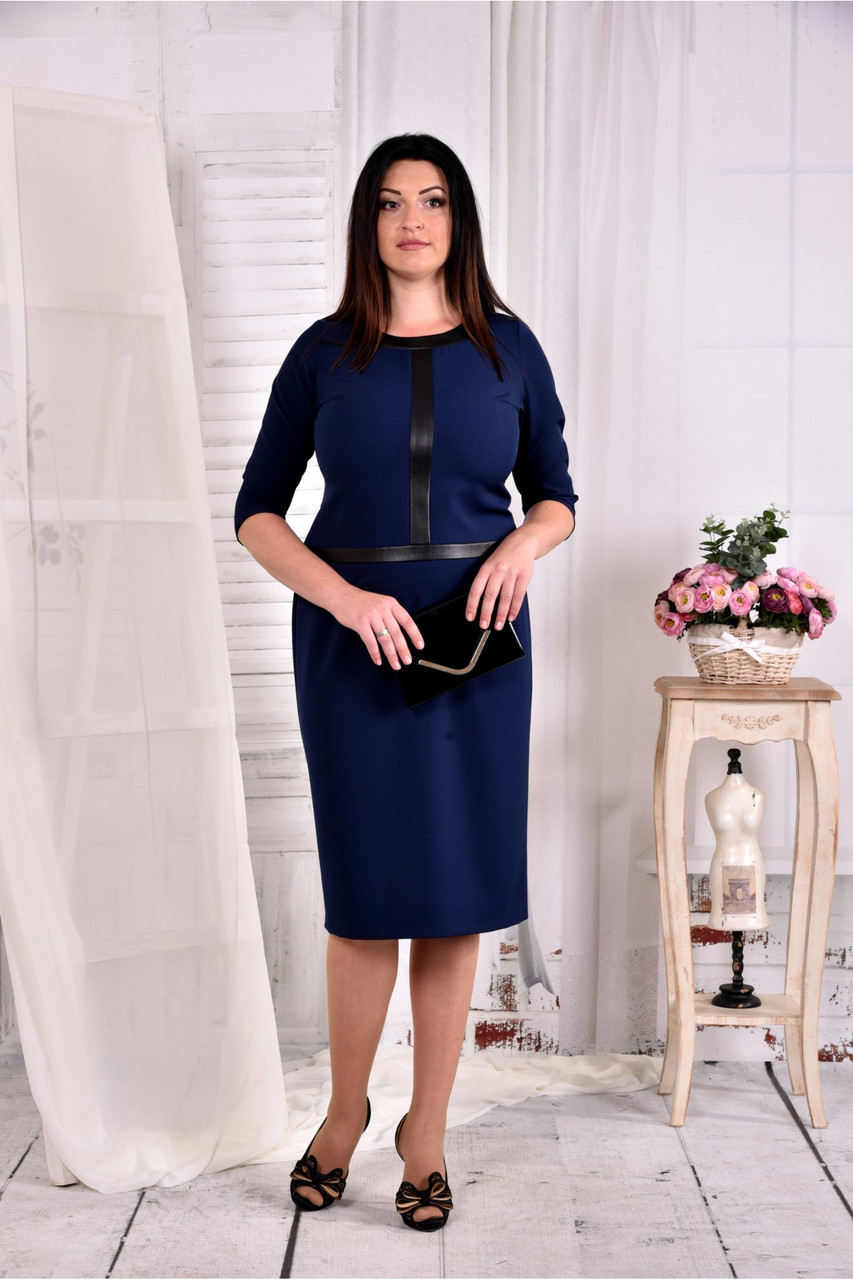 Женское платье для офиса 0568 цвет синий размер 42-74 / больших размеров