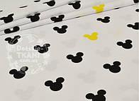 """Лоскут ткани №848  """"Мики чёрные и жёлтые на белом фоне"""""""