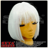 Парик Каре белый матовый из искусственных волос.